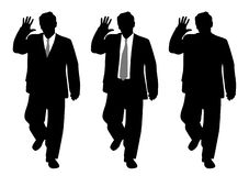 Businessman making stop gesture or waving hand saluting royalty free illustration