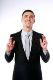 Businessman making a wish Royalty Free Stock Photos