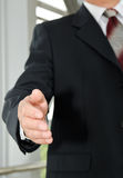 Businessman male hand reached to seal the agreement Stock Photo