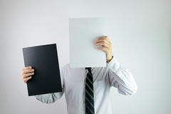Businessman man with black and white paper Stock Images