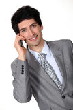 Businessman man on cellphone Stock Image