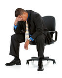 Businessman:  Man Exhausted From Work. Series of a Hispanic businessman in suit, isolated on white, with props, in various poses Stock Photo
