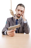 Businessman man with  gun Stock Images