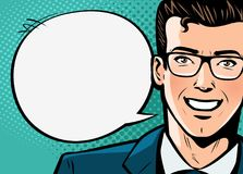 Businessman, man in suit says. Business concept. Pop art retro comic style. Cartoon vector illustration Royalty Free Stock Image