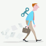Businessman man walking with a wind up key boring job. Illustration of Vector cartoon style Royalty Free Stock Photography
