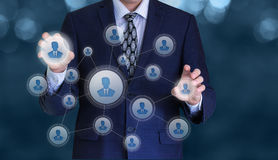 Businessman manage personnel in the network. Businessman manage personnel in the network concept design stock photography
