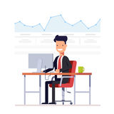 Businessman or manager analyzes the schedule. Successful entrepreneur is engaged arbitrage traffic. Man on a workplace. Computer. Vector, illustration EPS10 Stock Photo