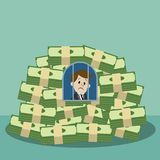 Businessman or manager became a prisoner and hostage of his money..   Stock Photos