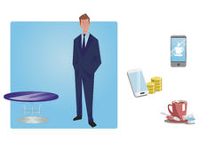 Businessman, manager in a business suit stands with hands in pockets. Business Icons. Business design. Vector illustration. Stock Photo
