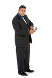 Businessman:  Manager with Clipboard. Series of a Hispanic businessman in suit, isolated on white, with props, in various poses Royalty Free Stock Photography