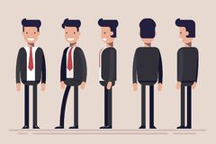Businessman or manager from different sides. Front, rear, side view of male person. Flat vector illustration in cartoon. Style Royalty Free Stock Photo