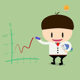 Businessman or manager drawing positive trend graph by red pen.f. Lat design Stock Images