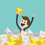 Businessman or manager has a lot of emails. He found the one. Job is finished successfull. Job done. Flat style vector illustration clipart Royalty Free Stock Images