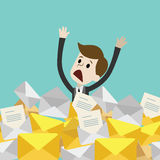 Businessman or manager has a lot of emails. A lot of work coming. Vector illustration Royalty Free Stock Photos