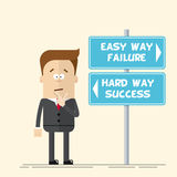 Businessman or manager has to choose the direction. Quick and easy way, or complex and difficult. A man in a business Royalty Free Stock Images