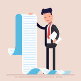 Businessman or manager, hold a long list or scroll of tasks. or questionnaire. Man in a business suit. Flat character. Vector illustration Stock Image