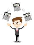 Businessman or manager juggling a calculators Stock Photo