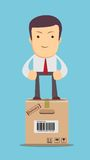Businessman, manager or logistic stands on box. Royalty Free Stock Photos