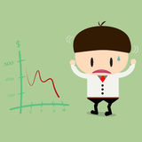 Businessman or manager look negative trend graph fall. Stock Images