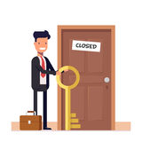 Businessman or manager with more keys standing near the closed door. The concept of solving the problem. Flat character. Isolated on white background. Vector Royalty Free Stock Photos