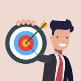 Businessman or manager pointing to the big target. Happy man dressed in a business suit. Flat vector illustration. vector illustration