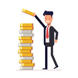 Businessman or manager puts money and coins in a pile. Calculation of financial return. Earned capital. Vector. A businessman or manager puts money and coins in Stock Photos