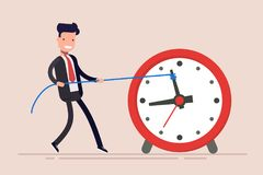 Businessman or manager is wasting time. Man is trying to get time back. The businessman failed to fulfill the task in. Time Stock Photo