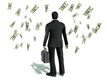 Businessman and many dollars Royalty Free Stock Photography