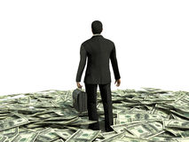 Businessman and many dollars Stock Images