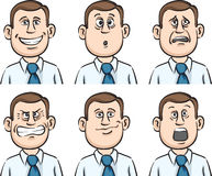 Businessman many faces emotions Stock Photography