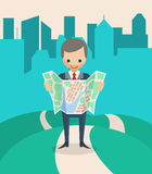 Businessman with a Map. Finding the right way. Vector illustration Stock Photos