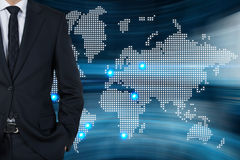 Businessman and map Stock Image