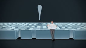 Businessman with Map trying to find his way in a Maze with Exclamation Sign, dark room, stock footage