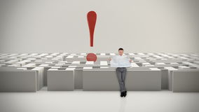 Businessman with Map trying to find his way in a Maze with Exclamation Sign, stock footage stock video footage
