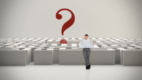 Businessman with Map trying to find his way in a Maze with Question Mark, Alpha Matte, stock footage stock footage