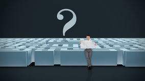 Businessman with Map trying to find his way in a Maze with Question Mark, dark room, Alpha Matte, stock footage stock footage