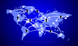 Businessman map. World map to represent the communication connection Internet Stock Image