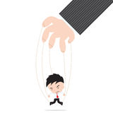 Businessman marionette on ropes controlled by other hand, on white background Royalty Free Stock Images