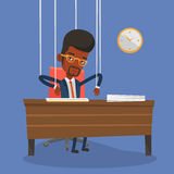 Businessman marionette on ropes working. Stock Photos