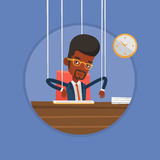 Businessman marionette on ropes working. Stock Photo