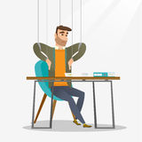 Businessman marionette on ropes working. Royalty Free Stock Image
