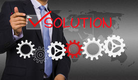 Businessman mark solution Royalty Free Stock Images