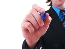 Businessman with a marker. A businessman with a marker isolated on white Stock Images