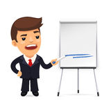 Businessman With Marker in Front of the Flipchart Stock Photography