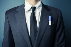 Businessman with a marker in front pocket Stock Photo