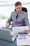 Businessman with market research results leaning back Royalty Free Stock Photos