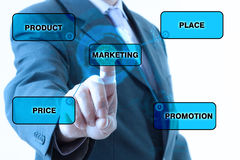 Businessman Marketing plan. Product, place, price and promotion text Royalty Free Stock Photography