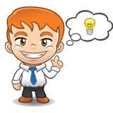 Businessman  mascot with idea Stock Image