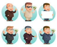 Businessman mascot professional hand gestures money ok thumb up victory pointing finger cartoon design vector Royalty Free Stock Images