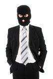 Businessman in mask. Angry businessman in black mask Royalty Free Stock Photo